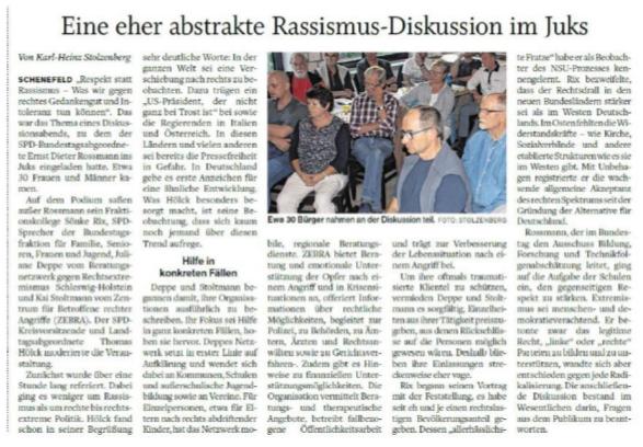 Presseartikel aus der shz vom 22.6.2018